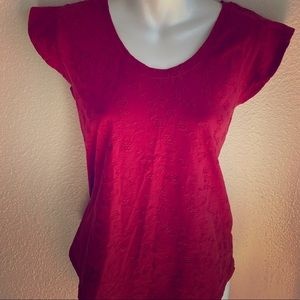 Loft red short sleeve floral tee small